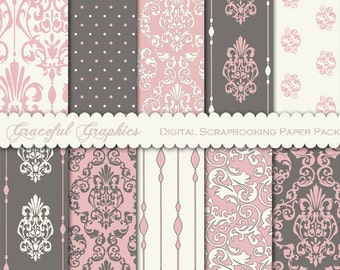 Scrapbook Paper Pack Digital Scrapbooking Background Papers 10 8.5 x 11 Sheets DAMASK DELICATE Pink Gray White 1615gg