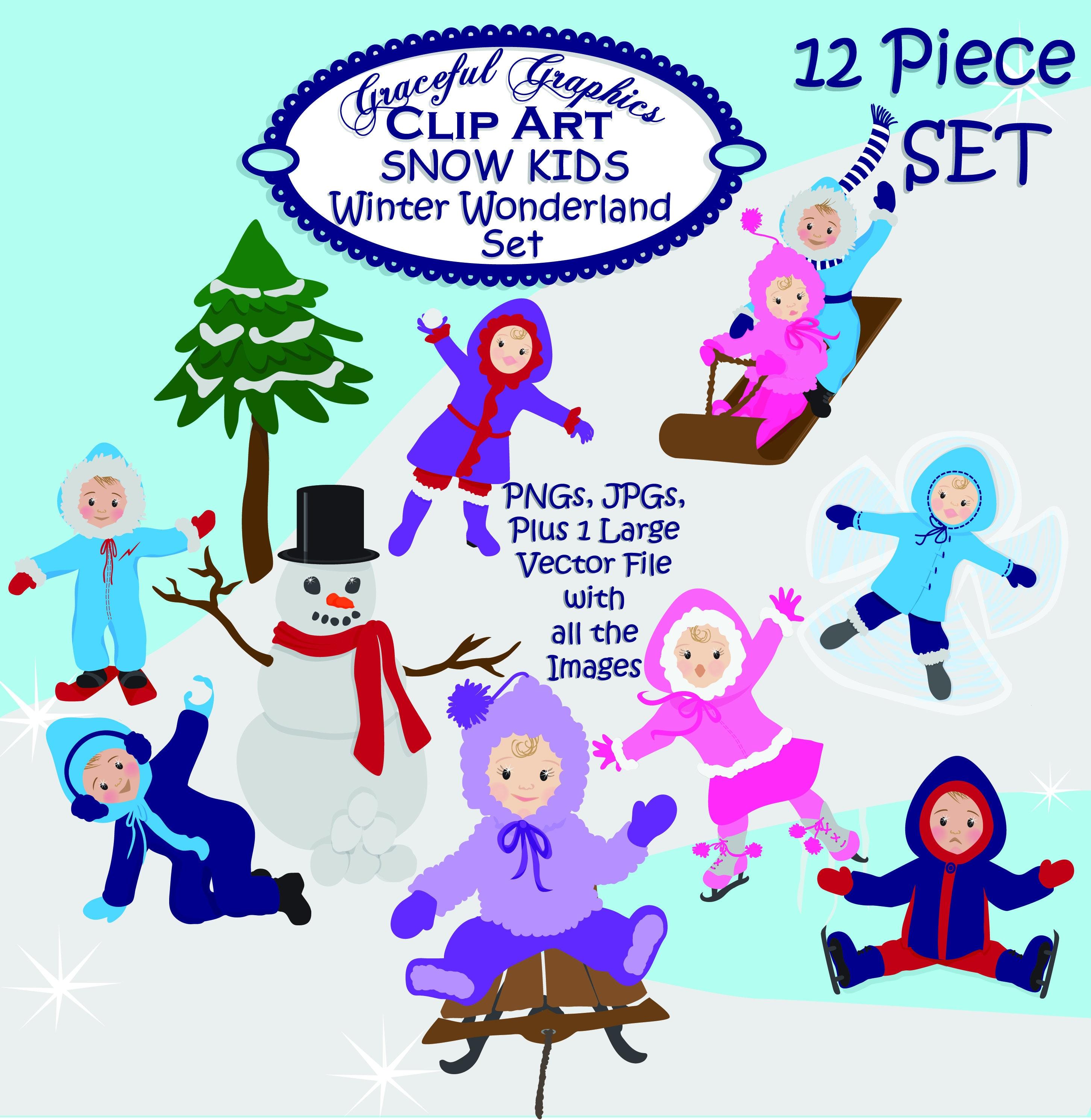 Christmas Clip Art: Snow Kids Christmas Clip Art | Etsy
