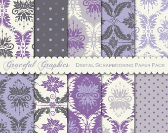 Scrapbook Paper Pack Digital Scrapbooking Background Papers 10 8.5 x 11 Old World DAMASK  Purple Gray White 1613gg