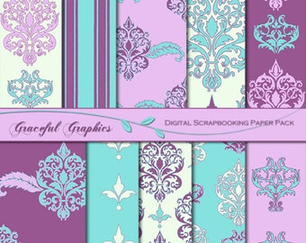 Scrapbook Paper Pack Digital Scrapbooking Background Papers Neoclassical 10 Sheets 8.5 x11 Turquoise Purple Pink White 1321gg