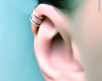 No Piercing For Him/For Her/Four Rings Helix Ear Cuff/ cartilage earcuff/ piercing imitation/fake faux piercing/ear jacket manchette ohrclip