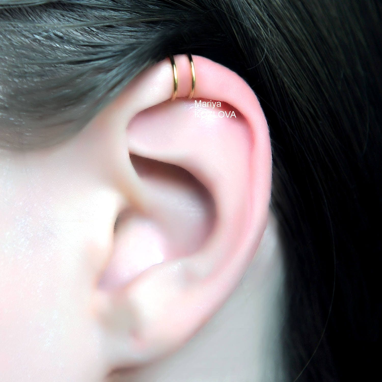 No Piercing Comfortable 20ga Two Rings Helix Ear Cuff