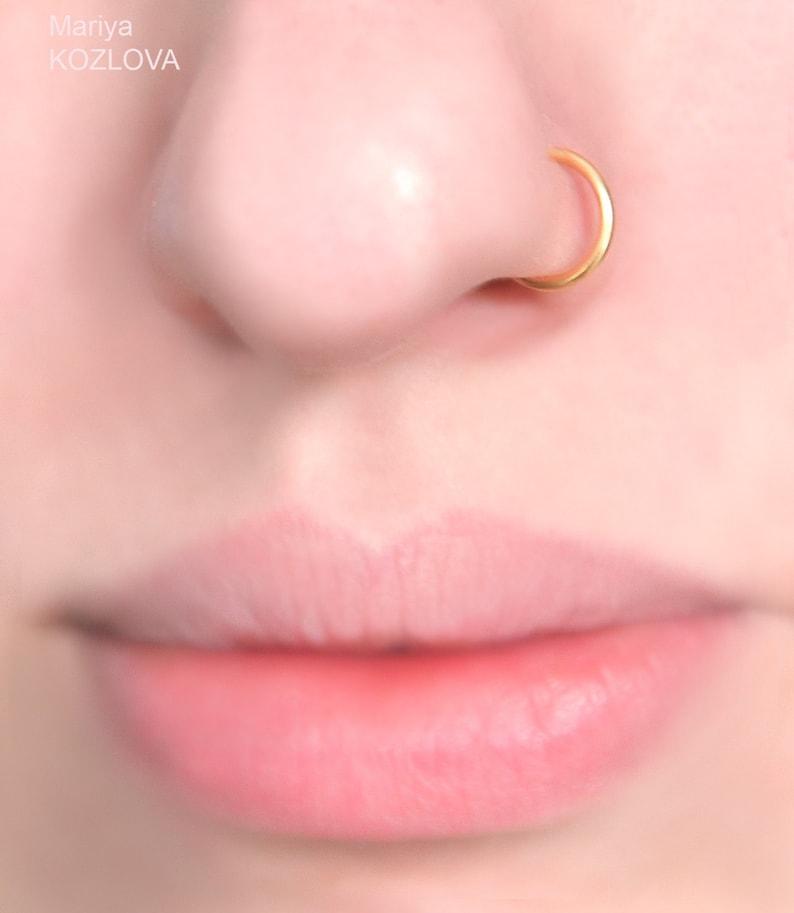 18ga 7mm Gold Nose Ring 8mm9mm6mm5mm Nostril Hoopfake nose piercingnariz piercing imitationfake nasenring piercingfaux anneau nez