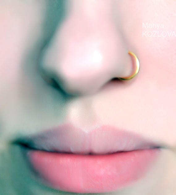 18ga 7mm Gold Nose Ring 8mm 9mm 6mm 5mm Nostril Hoop Fake Nose Etsy
