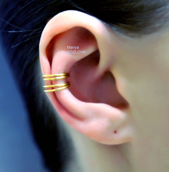 No Piercing Two Rows Cartilage Ear Cuff Double Rings Piercing Imitation Plain Simple Earring Faux Fake Ohr Piercing False Conch Ear Piercing