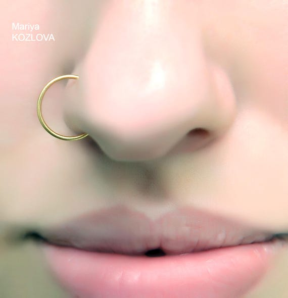 10mm No Piercing Yellow Gold Fake Nose Ring 9mm 11mm 12mm Etsy