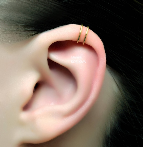 No Piercing Gold Two Rings Helix Ear Cuff Double Cartilage Ear Etsy
