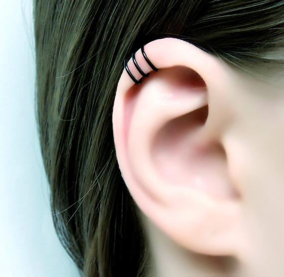 Ohrringe aus Horn schwarz passend für normale Ohrlöcher Piercing Design 103
