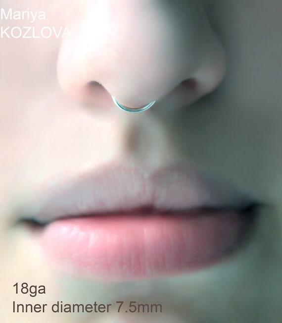 16ga 7 5mm No Piercing Septum Ring Piercing Imitation Fake Etsy