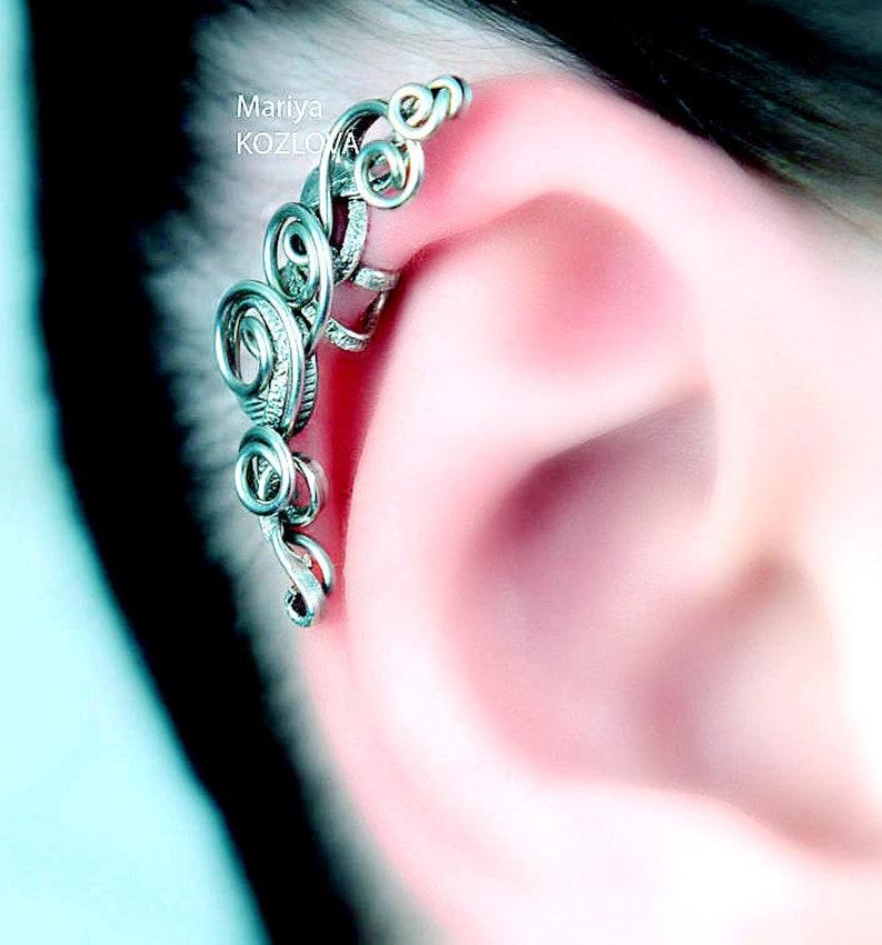 No Piercing Silver Scrolls Ear Jacketpiercing imitationfake faux piercinghelix ear manschetteohrklemme oberen knorpelear sweep climber