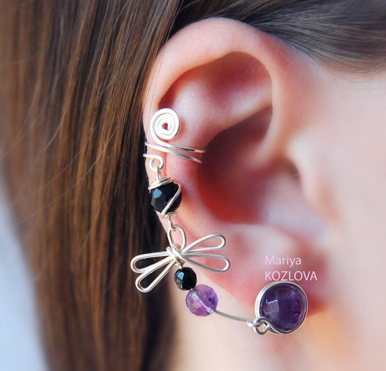 Ear Cuff Earrings Purple Dragonfly dragonfly ear sweep cartilage ear cuff bug ear climber insect ear crawlerconch ear ohr manschette