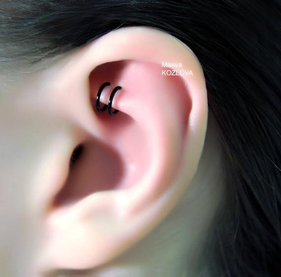 No Piercing Gold The Greatest Double Rings Helix Ear Cuff-Position 3Ear Nose Two Small Ringsfake faux piercingohrklemmemanschette oreja