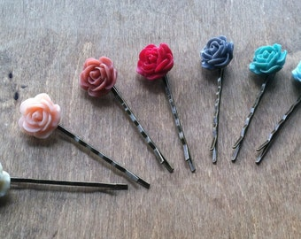 Antique Bronze Rose Hair Pins