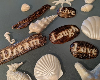 "48 Edible SEASHELLS 1/2""-4""various shapes / gum paste / sugar fondant / cake decorations or cupcake toppers"