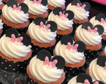 24 sets of Minnie Mouse inspired cupcake toppers/ cup cake toppers / gum paste/fondant cupcake topper