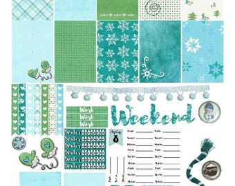 Winter Frolic Printable Stickers for Happy Planner