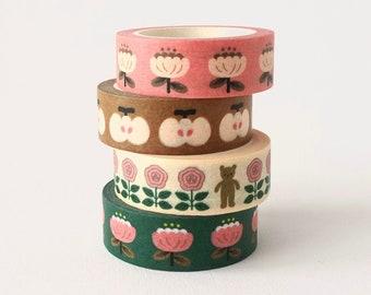 Floral Washi Tape, Pink Floral Washi Tape, Bullet Journal Washi Tape, Bear Decorative Tape, Cute Retro Washi Tape