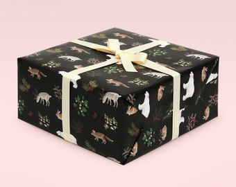 Black Christmas Wrapping Paper, Holiday Wrapping Paper, Woodland Animals, Christmas Gift Wrap, Holiday Gift Wrap