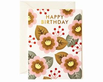 Retro Flower Birthday Card