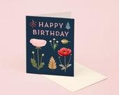 Foraged Poppy Birthday Card – Navy