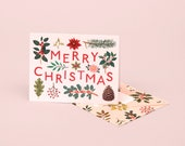 Holiday Plants Merry Christmas Card - Cream