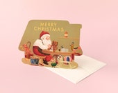 Santa and Toys Christmas Holiday Die Cut Card