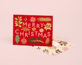Holiday Plants Merry Christmas Card - Red