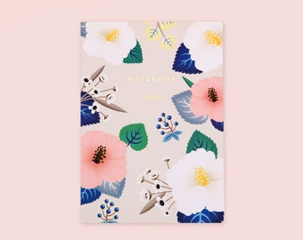 Ivory Hibiscus Floral Notebook, Floral Ruled Notebook, Floral Journal