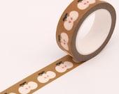 Brown Apple Print Washi Tape, Bullet Journal Washi Tape, Paper Craft Decorative Tape, Scrapbooking Washi Tape, Party Washi Tape