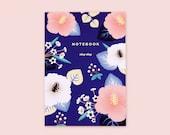 Marine Blue Hibiscus Floral Notebook, Hibiscus Journal, Floral Ruled Notebook, Floral Pattern Notebook, Pink Hibiscus Notebook