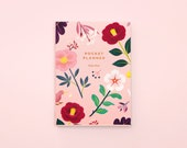 Pink Flower Pocket Planner, Mini Monthly Planner, Monthly Pocket Planner, Purse Size Planner, Small Weekly Planner, Open Dated Planner