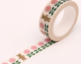 Grizzly Bear Pink Floral Motif Washi Tape, Bullet Journal Washi Tape, Paper Craft Decorative Tape, Scrapbooking Washi Tape, Party Washi