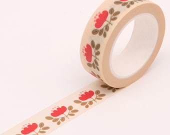 Red Floral Washi Tape, Flower Bullet Journal Washi Tape, Cute Red Washi Tape
