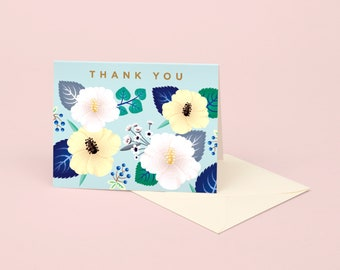 Mint Hibiscus Thank You Card