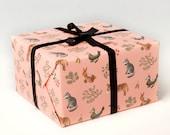 Farm Animals Wrapping Paper - Peach -