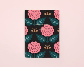 Floral Pattern Pocket Notebook, Flower Mini Notebook, Small Floral Notebook