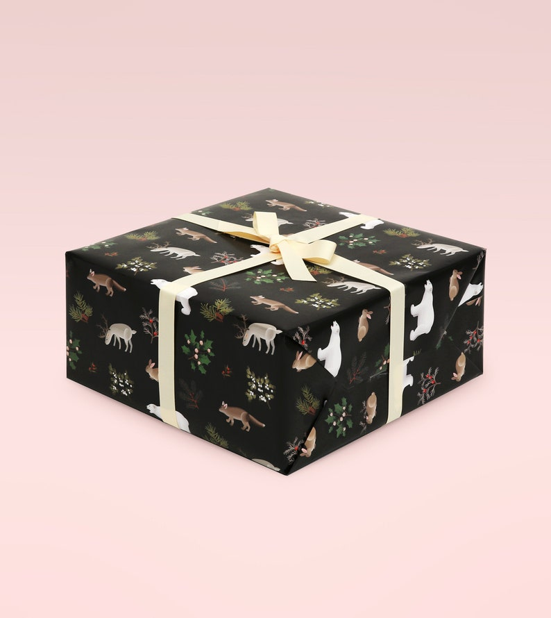 Black Christmas Wrapping Paper Holiday Wrapping Paper image 1