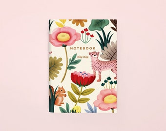 Floral Animal Pocket Notebook, Cheetah Mini Notebook, Small Floral Journal