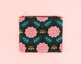 Black Floral Print Pouch Bag, Canvas Cotton Toiletry Bag, Floral Costmetic Bag