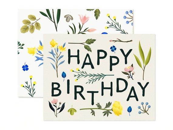 Plant Variety Birthday Card Ivory Etsy