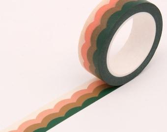 Green Stripe Pattern Washi Tape, Decorative Scallop Frame Washi Tape, Stripe Gift Wrapping Washi Tape, Retro Vintage Washi Tape