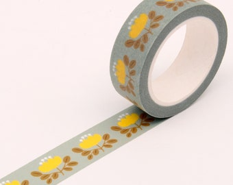Floral Washi Tape - Baby Blue