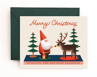 Santa and Rudolph Toy Christmas Card