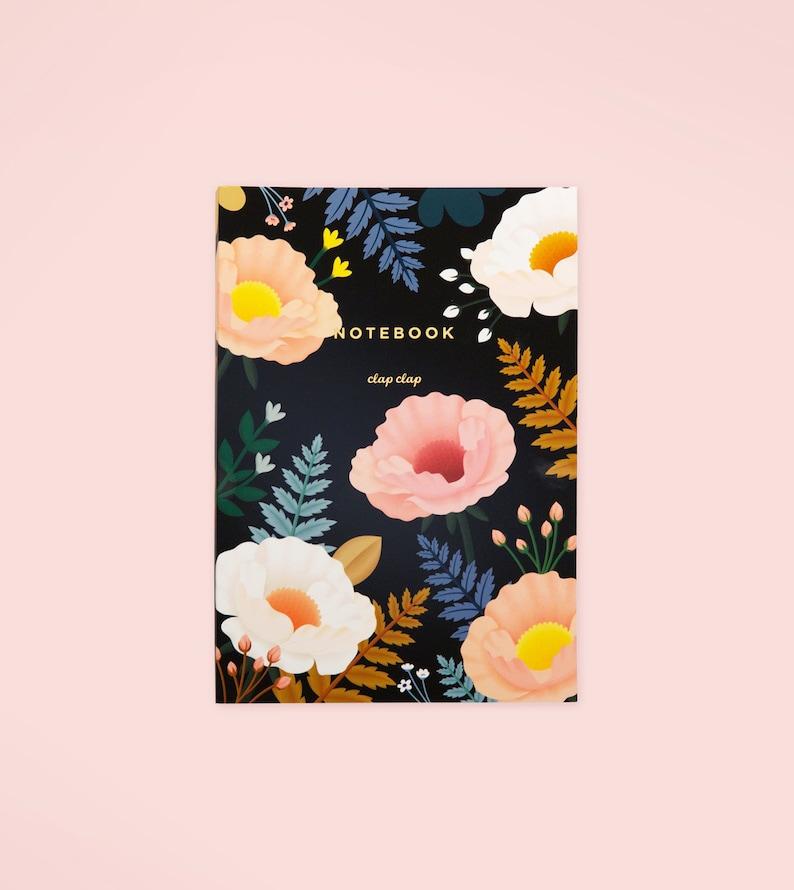 Black Floral Illustrated Journal Poppy Botanical Journal image 0