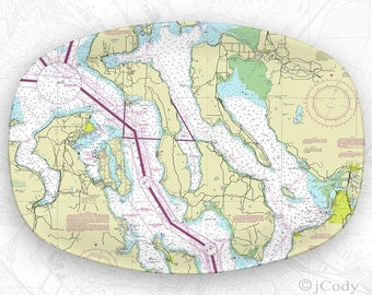Puget Sound, including Seattle Nautical Map Platter