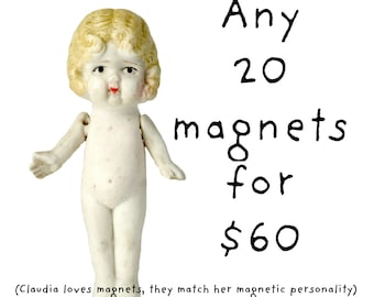 You Choose 20 Adventures of Claudia Magnets Funny Doll Photography Typographic Magnet Set