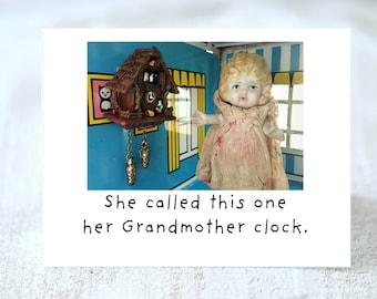 Her Grandmother Clock Adventures of Claudia Card Miniatures Doll Art