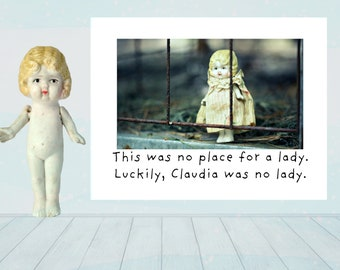 No Place For A Lady Funny Greeting Card Adventures of Claudia Doll Stationary