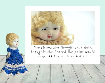 Dark Thoughts Funny Doll Greeting Card by The Adventures of Claudia (1)