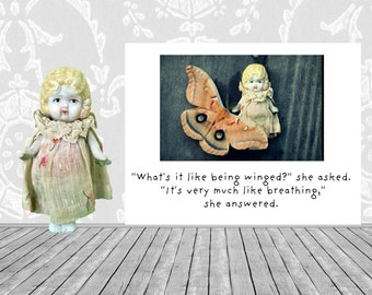 Moth Greeting Card Adventures of Claudia Being Winged Collage Stationary